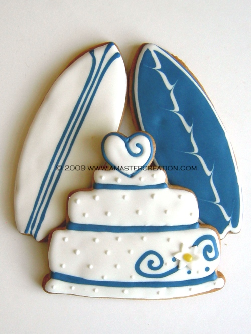 Wedding cake with surfboards
